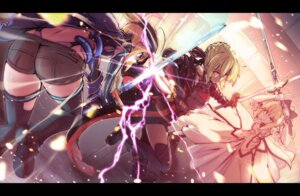 Rating: Safe Score: 44 Tags: armor ass dress fate/grand_order heroine_x heroine_x_alter saber saber_lily saiki_rider sword thighhighs User: Nepcoheart