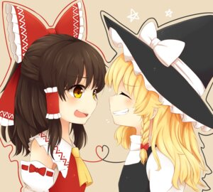 Rating: Safe Score: 21 Tags: dress hakurei_reimu kirisame_marisa miko riza_dxun touhou witch User: mash