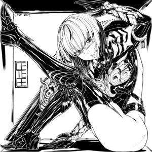 Rating: Safe Score: 8 Tags: armor heels megane monochrome monster_hunter monster_hunter_world no_bra tagme thighhighs User: Radioactive