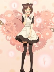 Rating: Safe Score: 55 Tags: animal_ears maekawa_miku maid tattoo the_idolm@ster the_idolm@ster_cinderella_girls thighhighs turu User: Mr_GT