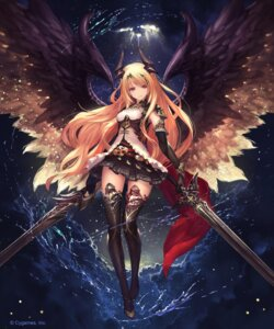 Rating: Safe Score: 205 Tags: armor dark_angel_olivia dress horns jpeg_artifacts shingeki_no_bahamut sword tachikawa_mushimaro thighhighs wings User: Mr_GT