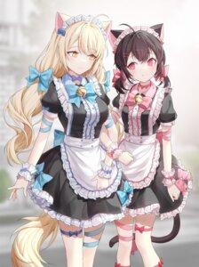 Rating: Questionable Score: 22 Tags: animal_ears garter maid nekomimi ronopu tail yuri User: Mr_GT