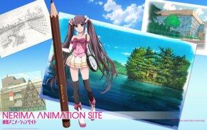Rating: Safe Score: 10 Tags: kubota_chikashi neri_neriko nerima_animation_site thighhighs wallpaper User: saemonnokami