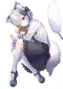 Rating: Safe Score: 49 Tags: animal_ears chibi dress hyonee nekomimi tail User: BattlequeenYume