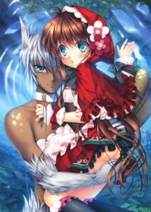 Rating: Questionable Score: 31 Tags: animal_ears ass dress hinoue_itaru little_red_riding_hood_(character) nopan User: Twinsenzw