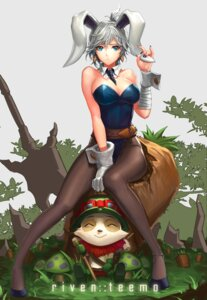 Rating: Safe Score: 74 Tags: ake_(cherrylich) animal_ears bunny_ears bunny_girl cleavage league_of_legends pantyhose riven_(league_of_legends) teemo User: Mr_GT