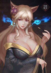 Rating: Questionable Score: 28 Tags: animal_ears breast_hold cleavage kimono kitsune no_bra open_shirt senna_(artist) signed smoking User: mash