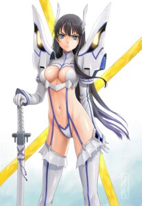 Rating: Questionable Score: 79 Tags: cleavage junketsu kill_la_kill kiryuuin_satsuki kotikomori stockings sword thighhighs User: Radioactive
