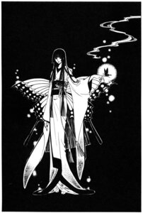 Rating: Safe Score: 7 Tags: clamp ichihara_yuuko kimono monochrome wings xxxholic User: charunetra