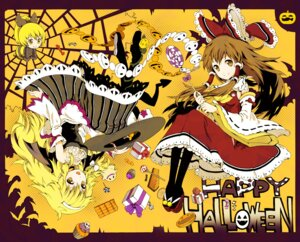Rating: Safe Score: 17 Tags: hakurei_reimu halloween ichizen kirisame_marisa kurodani_yamame touhou User: Mr_GT
