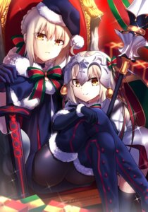 Rating: Safe Score: 39 Tags: christmas dress fate/grand_order ichiren_namiro jeanne_d'arc_alter_santa_lily pantyhose saber saber_alter thighhighs weapon User: Mr_GT