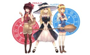 Rating: Safe Score: 22 Tags: alice_margatroid cleavage dress hakurei_reimu jandy kirisame_marisa pantyhose thighhighs touhou witch User: charunetra