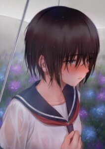 Rating: Questionable Score: 38 Tags: asaba0327 see_through seifuku umbrella wet wet_clothes User: Spidey