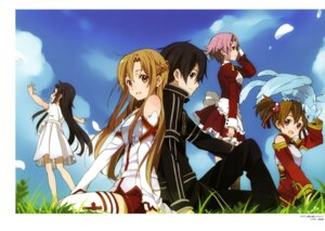 Rating: Safe Score: 30 Tags: armor asuna_(sword_art_online) dress horiguchi_yukiko kirito lisbeth pina silica sword_art_online thighhighs yui_(sword_art_online) User: drop