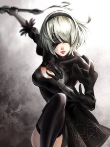 Rating: Safe Score: 9 Tags: cleavage dress nbrnsk nier_automata sword thighhighs yorha_no.2_type_b User: mash