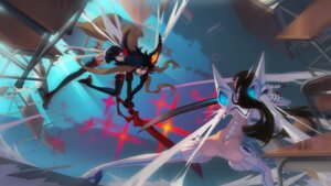 Rating: Questionable Score: 30 Tags: aner ass junketsu kill_la_kill kiryuuin_satsuki matoi_ryuuko senketsu stockings sword thighhighs User: Radioactive