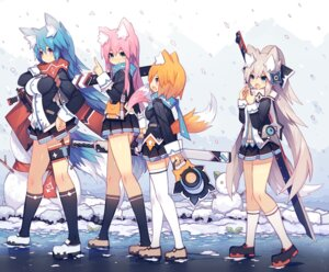 Rating: Safe Score: 63 Tags: animal_ears kitsune mamuru sword tail thighhighs weapon User: KazukiNanako