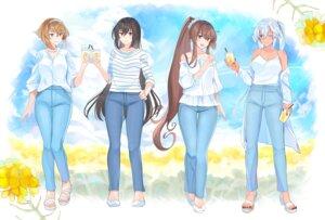 Rating: Safe Score: 11 Tags: cleavage dress_shirt heels kantai_collection musashi_(kancolle) mutsu_(kancolle) nagato_(kancolle) yamato_(kancolle) yunamaro User: Mr_GT