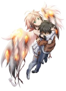 Rating: Safe Score: 40 Tags: ikaros sakurai_tomoki sora_no_otoshimono thighhighs torn_clothes wings User: Mekdra