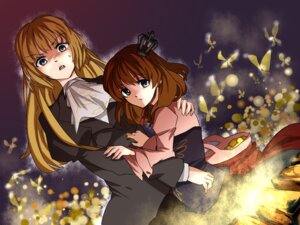Rating: Safe Score: 4 Tags: hyuuga_(artist) umineko_no_naku_koro_ni ushiromiya_maria ushiromiya_rosa wallpaper User: Radioactive
