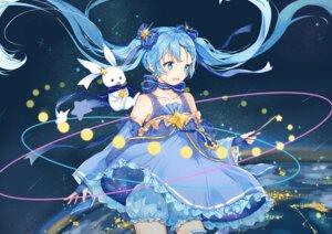 Rating: Safe Score: 49 Tags: bloomers dress hatsune_miku hokuotzu skirt_lift vocaloid yuki_miku User: Mr_GT