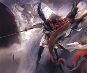 Rating: Safe Score: 24 Tags: archlich horns ibuki_suika shameimaru_aya sword thighhighs touhou wings User: Radioactive