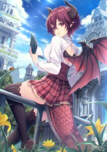 Rating: Safe Score: 84 Tags: granblue_fantasy grea_(granblue_fantasy) grea_(shingeki_no_bahamut) horns pointy_ears shingeki_no_bahamut tail thighhighs wings yoshino_ryou User: BattlequeenYume