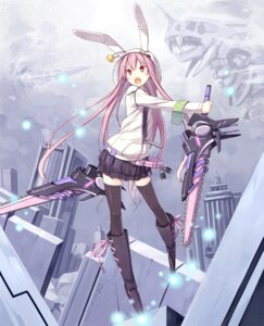 Rating: Safe Score: 42 Tags: animal_ears bunny_ears chainsaw poco sword thighhighs User: fairyren