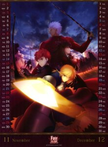 Rating: Safe Score: 28 Tags: archer armor calendar dress emiya_shirou fate/stay_night fate/stay_night_unlimited_blade_works lancer saber seifuku tattoo toosaka_rin weapon User: drop