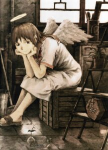 Rating: Safe Score: 9 Tags: abe_yoshitoshi haibane_renmei rakka sepia wings User: Radioactive