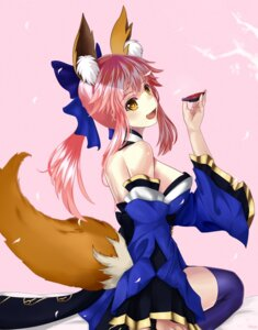 Rating: Safe Score: 37 Tags: animal_ears caster_(fate/extra) convoyke fate/extra fate/grand_order fate/stay_night japanese_clothes kitsune open_shirt sake tail thighhighs User: mash