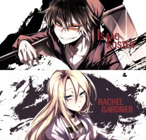 Rating: Safe Score: 7 Tags: bandages isaac_foster rachel_gardner satsuriku_no_tenshi shun_nyun weapon User: charunetra