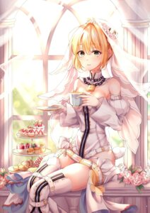 Rating: Questionable Score: 19 Tags: fate/grand_order no_bra pippin_sol saber_bride saber_extra stockings thighhighs User: Darkthought75
