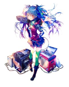 Rating: Safe Score: 36 Tags: hatsune_miku headphones heterochromia shirai_eiri thighhighs vocaloid User: blooregardo