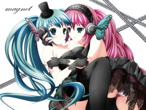 Rating: Questionable Score: 20 Tags: cameltoe cleavage dress hatsune_miku headphones magnet_(vocaloid) megurine_luka pantsu rinereeto shimapan thighhighs vocaloid User: sunecchi