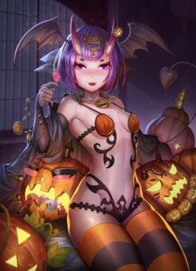 Rating: Safe Score: 59 Tags: animal_ears dark_duck fate/grand_order halloween horns no_bra open_shirt pantsu shuten_douji_(fate/grand_order) tagme tail thighhighs wings User: RyuZU