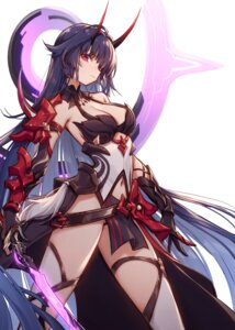 Rating: Safe Score: 42 Tags: 909089089 armor benghuai_xueyuan cleavage honkai_impact horns raiden_mei sword thighhighs User: haikuGGG