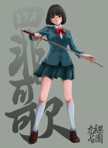 Rating: Safe Score: 11 Tags: durarara!! kurakuen megane seifuku sonohara_anri sword User: Oh