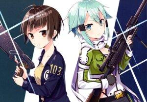 Rating: Safe Score: 7 Tags: cleavage gun psycho-pass sakuragi_ren sinon sword_art_online tsunemori_akane User: kiyoe