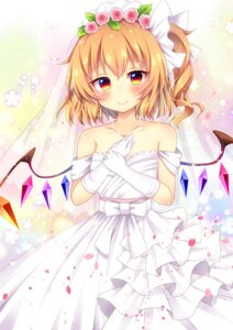 Rating: Safe Score: 40 Tags: dress flandre_scarlet miy@ touhou wedding_dress wings User: Mr_GT