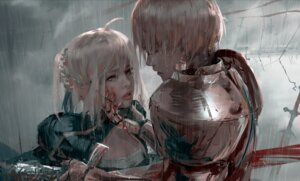 Rating: Safe Score: 24 Tags: armor blood fate/stay_night saber sword wet wlop User: brimston