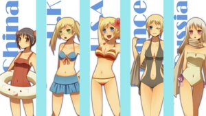 Rating: Safe Score: 16 Tags: america bikini china cleavage france genderswap hetalia_axis_powers kisaragi_tomokaori megane russia swimsuits united_kingdom User: Radioactive