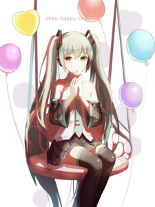 Rating: Safe Score: 45 Tags: hatsune_miku headphones red_flowers thighhighs vocaloid User: Mr_GT