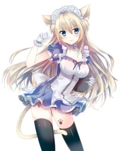 Rating: Safe Score: 130 Tags: animal_ears cleavage hannpenn2 maid nekomimi tail thighhighs User: tbchyu001