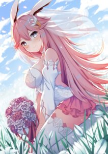 Rating: Safe Score: 76 Tags: animal_ears benghuai_xueyuan bunny_ears dress honkai_impact qunqing thighhighs wedding_dress yae_sakura_(benghuai_xueyuan) User: Mr_GT