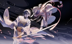 Rating: Safe Score: 21 Tags: ima-no-tsurugi male mikazuki_munechika sword touken_ranbu xiayu User: animeprincess