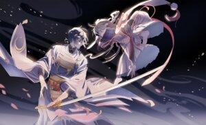 Rating: Safe Score: 21 Tags: ima-no-tsurugi male mikazuki_munechika sword touken_ranbu xiayu User: animeprincess