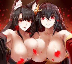 Rating: Questionable Score: 41 Tags: akagi_(azur_lane) animal_ears azur_lane breasts censored japanese_clothes kitsune minarai_tenna no_bra open_shirt symmetrical_docking taihou_(azur_lane) User: mash