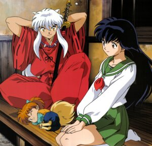 Rating: Safe Score: 7 Tags: animal_ears higurashi_kagome inumimi inuyasha inuyasha_(character) japanese_clothes seifuku shippo sword tail User: Radioactive