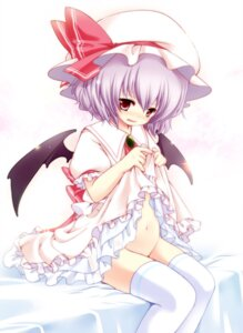Rating: Questionable Score: 38 Tags: irori_kyouka_gekkan jpeg_artifacts loli nopan remilia_scarlet skirt_lift thighhighs touhou wings User: blooregardo